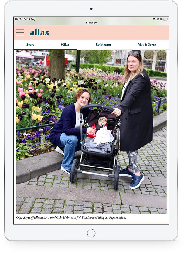 Olga Zaytzeff together with Cilla Holm who had little Liv with the help of egg donation