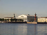 The Stock Exchange and the Rostral columns, St. Petersburg, Russia